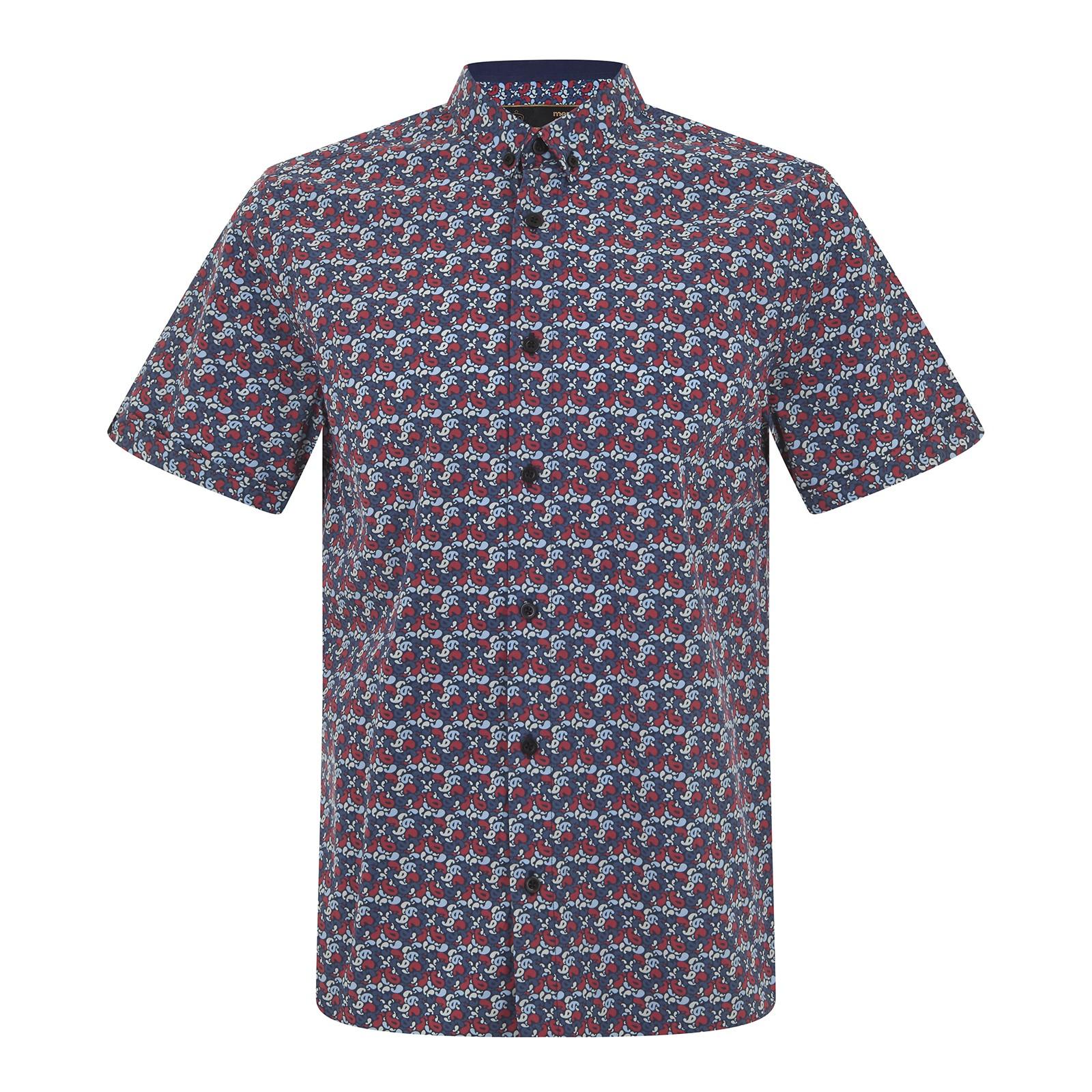 Koszula MERC LONDON TROWER PAISLEY SHIRT, niebieska