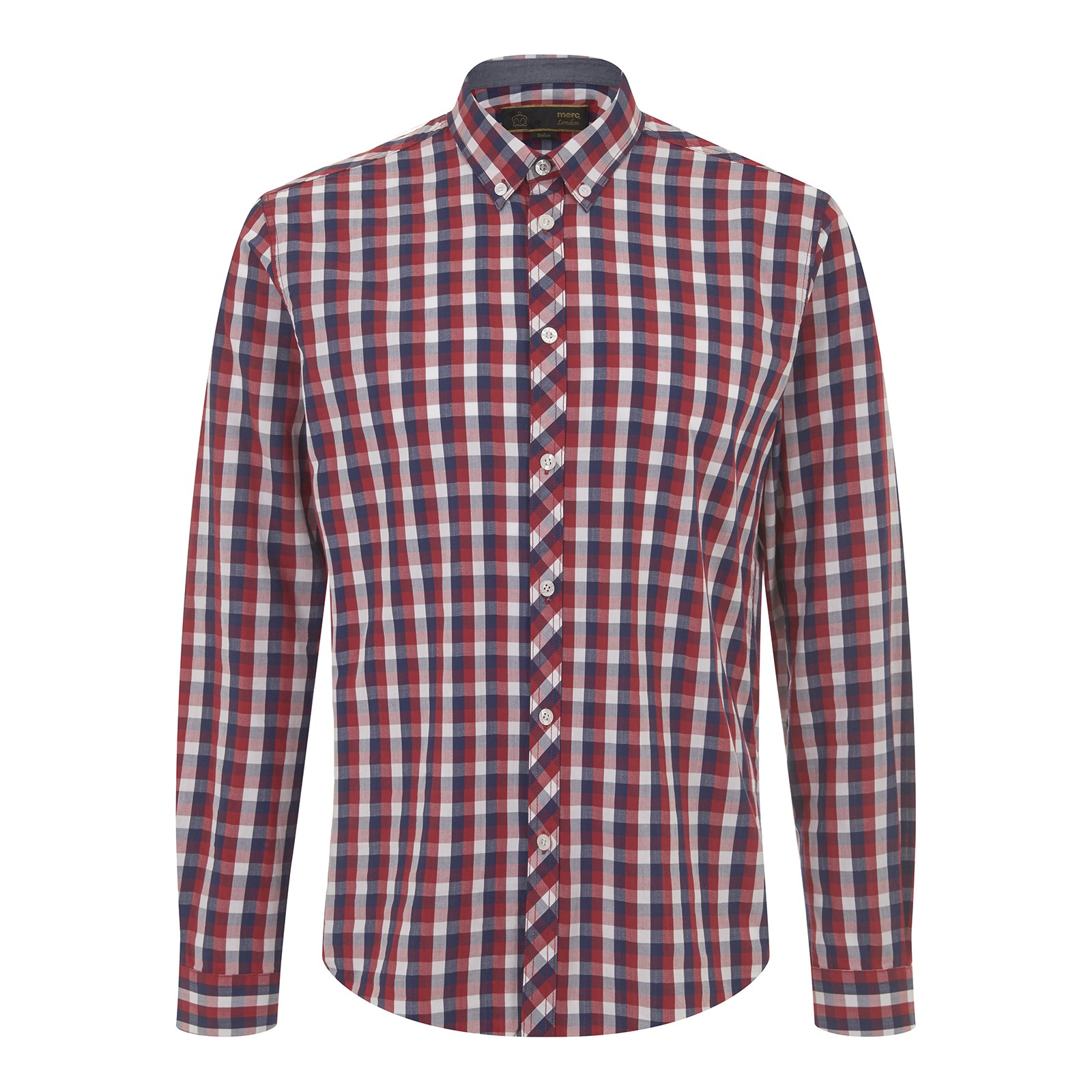 Koszula MERC LONDON ARISTA CHECK SHIRT,  czerwono niebieska