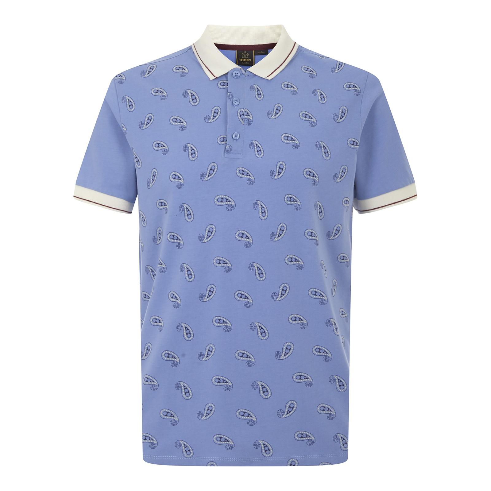 Koszulka Polo MERC LONDON SAMWELL PAISLEY POLO NIEBIESKA