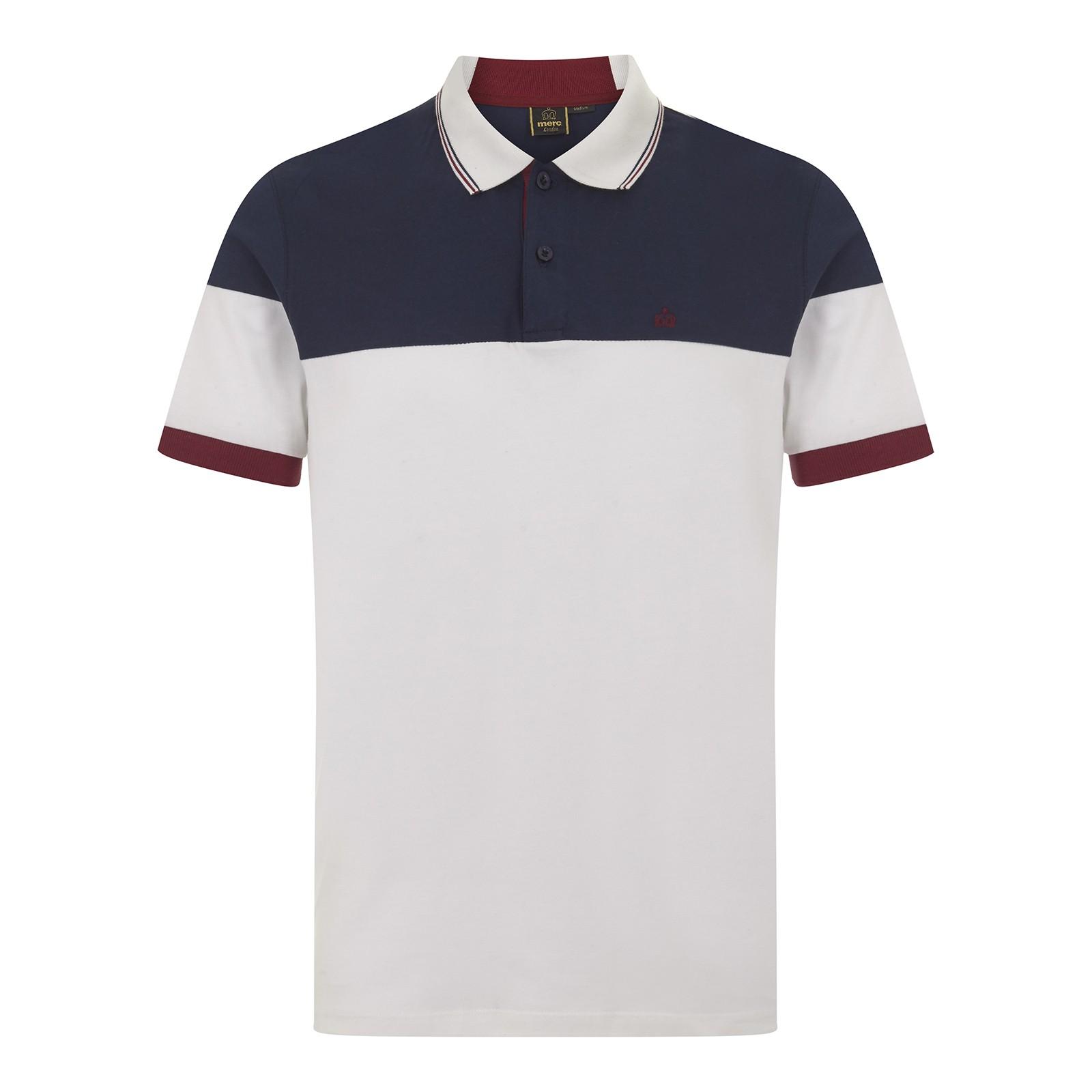 Koszulka polo MERC LONDON KRUGER KNITTED POLO, biała