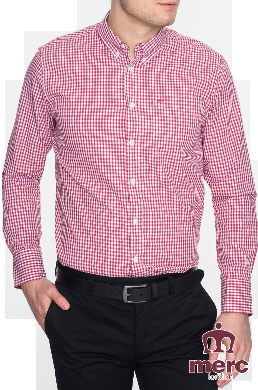 Koszula z długim rękawem MERC LONDON JAPSTER Bordowa