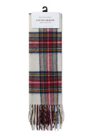 Wełniany szalik w szkocką kratkę MERC LONDON & Lochcarron WOOL Biały