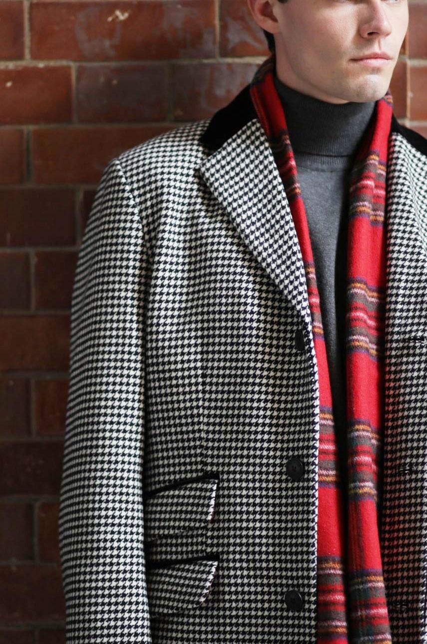 Wełniany szalik w szkocką kratkę MERC LONDON & Lochcarron WOOL Czerwony